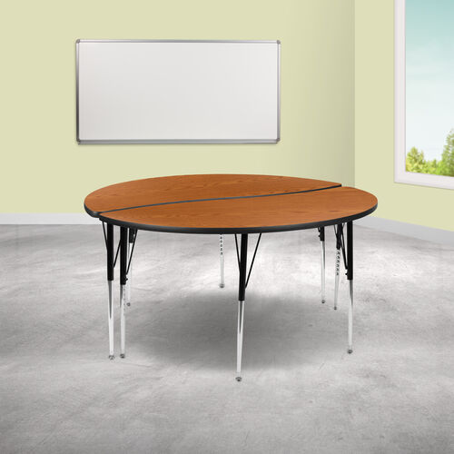 """Our 2 Piece 60"""" Circle Wave Collaborative Oak Thermal Laminate Activity Table Set - Standard Height Adjustable Legs is on sale now."""
