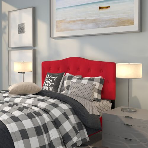 Cambridge Tufted Upholstered Full Size Headboard in Red Fabric