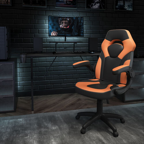 BlackArc Black Gaming Desk and Orange/Black Racing Chair Set with Cup Holder, Headphone Hook, and Monitor/Smartphone Stand