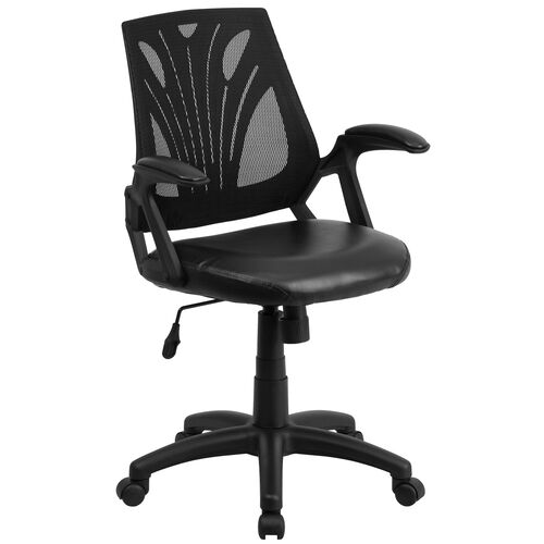 Our Mid-Back Designer Black Mesh Swivel Task Office Chair with Leather Seat and Open Arms is on sale now.