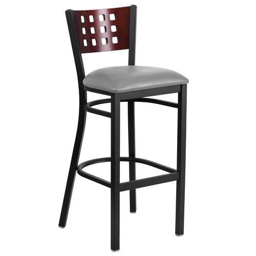 Our Black Decorative Cutout Back Metal Restaurant Barstool with Mahogany Wood Back & Custom Upholstered Seat is on sale now.