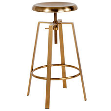 Toledo Industrial Style Barstool with Swivel Lift Adjustable Height Seat in Gold Finish