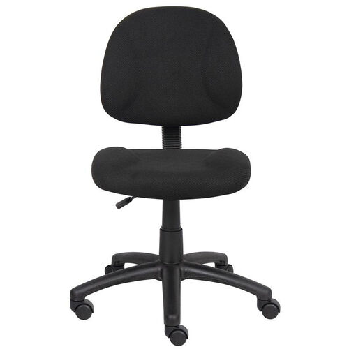 Deluxe Thick Padded Armless Task Chair with Lumbar Support and Nylon Base - Black