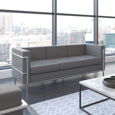 Hercules Regal Series Contemporary Gray LeatherSoft Sofa with Encasing Frame