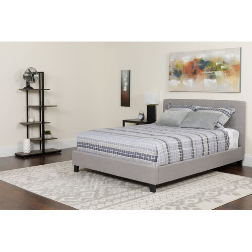 Our Chelsea Twin Size Upholstered Platform Bed in Light Gray Fabric with Memory Foam Mattress is on sale now.