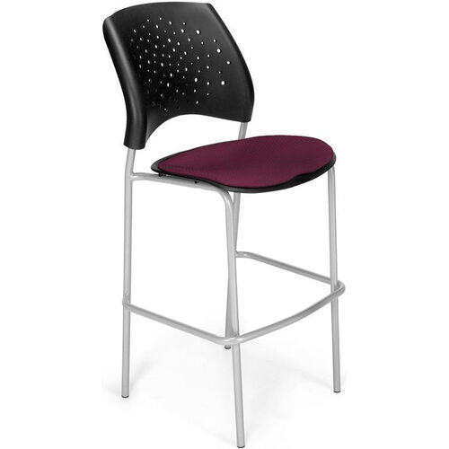Our Stars Cafe Height Chair with Fabric Seat and Silver Frame - Burgundy is on sale now.
