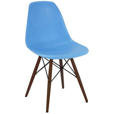 Trige Mid Century Blue Armless Side Chair with Walnut Wood Base - Set of 2