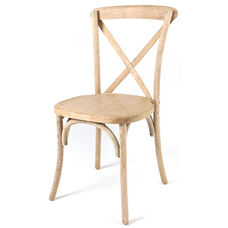 Rustic Sonoma Solid Wood Cross Back Stackable Dining Chair - Tinted Raw