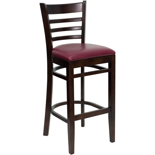 Our Walnut Finished Ladder Back Wooden Restaurant Barstool with Burgundy Vinyl Seat is on sale now.