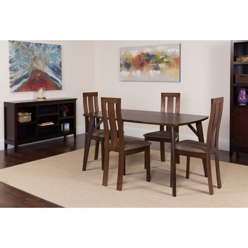 Our Pullman 5 Piece Espresso Wood Dining Table Set with Vertical Wide Slat Back Wood Dining Chairs - Padded Seats is on sale now.