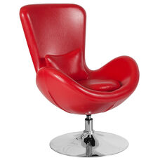 Egg Series Red Leather Side Reception Chair