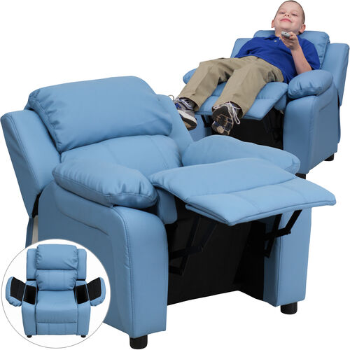 Our Deluxe Padded Contemporary Light Blue Vinyl Kids Recliner with Storage Arms is on sale now.