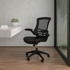 Desk Chair with Wheels   Swivel Chair with Mid-Back Black Mesh and LeatherSoft Seat for Home Office and Desk
