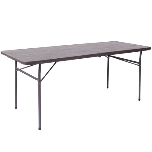 Our 6-Foot Bi-Fold Brown Wood Grain Plastic Folding Table with Carrying Handle is on sale now.