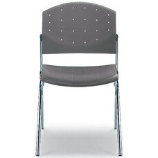 Eddy 4-Post Chrome Stack Side Chair with Upholstered Seat Pad