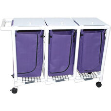 Triple Bag Hamper with Mesh Bag and Casters - 18.750