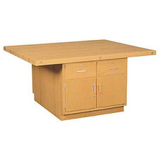 Four-Station Wood Workbench with Four Doors and Drawers
