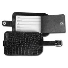 Crocodile Embossed Leather Luggage Tag - Black