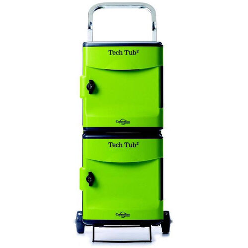 Rolling 10 Port Tech Tub2® Trolley with Internal Cable Organizers and 10 Outlet Internal Power Strip - 19.5