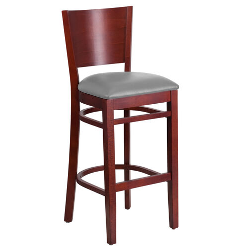 Our Mahogany Finished Solid Back Wooden Restaurant Barstool with Custom Upholstered Seat is on sale now.