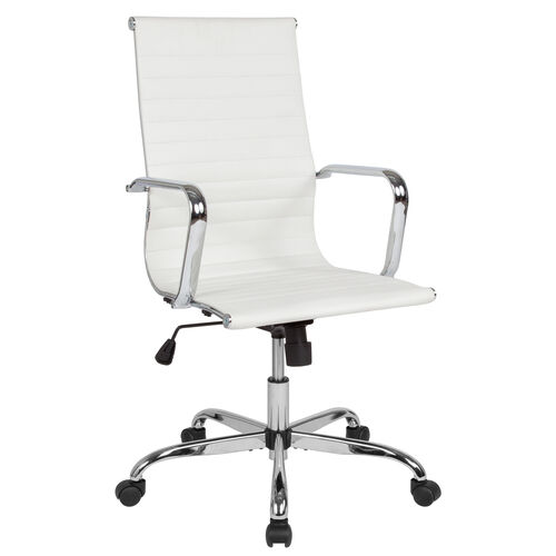 Our High Back White LeatherSoft Mid-Century Modern Ribbed Swivel Office Chair with Spring-Tilt Control and Arms is on sale now.