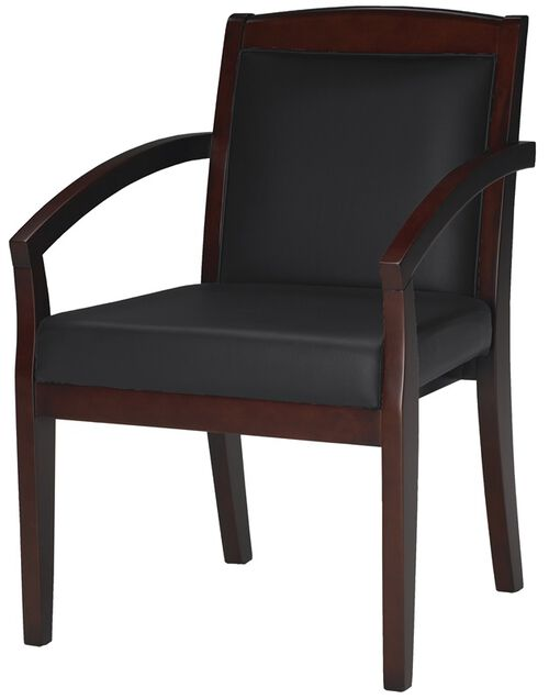 Our Mercado Solid Back Guest Chair - Set of 2 - Black Leather with Sierra Cherry is on sale now.