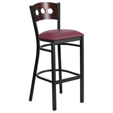 Black Decorative 3 Circle Back Metal Restaurant Barstool with Walnut Wood Back & Burgundy Vinyl Seat