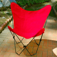 Folding Butterfly Chair with Black Steel Frame and Cotton Cover - Red