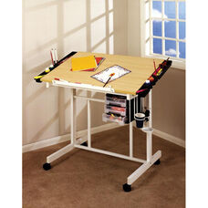 Deluxe Maple and Steel Craft Station with Removable Storage Trays - White