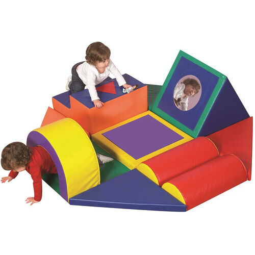 Shape and Play Obstacle Course Play Center with Hook and Loop Configurations and Sewn-In Flexible Mirrors