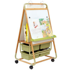 Double Sided Bamboo Teaching Easel with Bamboo Middle Shelf and 4 Open Tubs