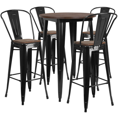 """Our 30"""" Round Black Metal Bar Table Set with Wood Top and 4 Stools is on sale now."""