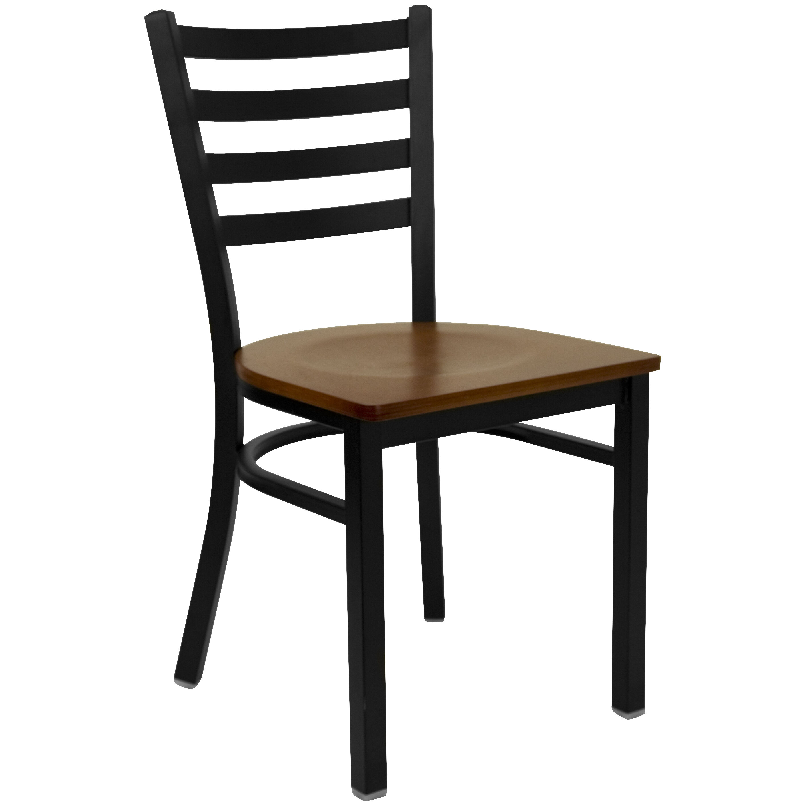 Beau HERCULES Series Black Ladder Back Metal Restaurant Chair   Cherry Wood Seat