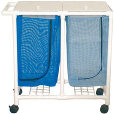 Space Saving Double Hamper with Mesh Bag and Casters- 18.5