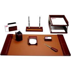 Classic Leather 10 Piece Desk Set - Mocha
