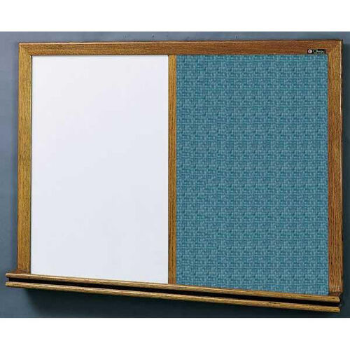 Our 210 Series Wood Frame Combo Markerboard and Tackboard - Designer Fabric - 96