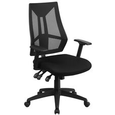High Back Black Mesh Multifunction Swivel Task Chair with Adjustable Arms