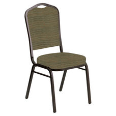 Embroidered Crown Back Banquet Chair in Highlands Topaz Fabric - Gold Vein Frame