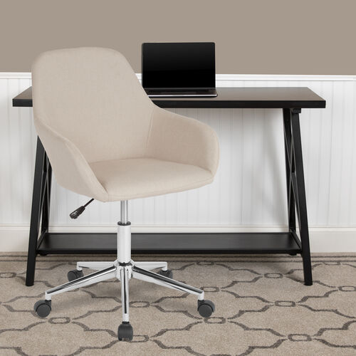 Cortana Home and Office Mid-Back Chair in Beige Fabric