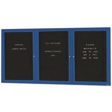 3 Door Indoor Enclosed Directory Board with Blue Anodized Aluminum Frame - 36