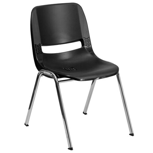 Our HERCULES Series 880 lb. Capacity Black Ergonomic Shell Stack Chair with Chrome Frame and 18