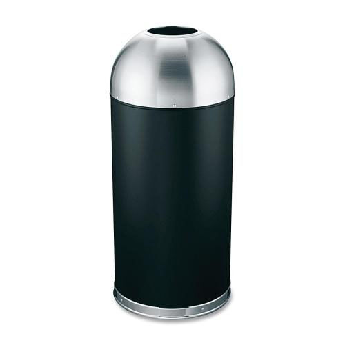 Our Genuine Joe Trash Receptacle - Domed Top - 15 Gal. - Black -Silver is on sale now.