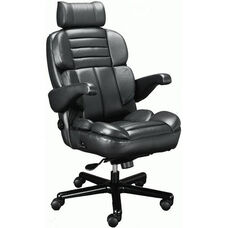 Galaxy Contoured Seat Office Chair with Padded Headrest - Leather