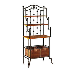 Saint Pierre Double Iron Construction Bakers Rack with Mission Oak Counter and Brown Rattan Baskets
