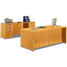 Honey Desk with Credenza