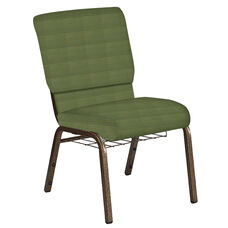 Embroidered 18.5''W Church Chair in Mainframe Basil Fabric with Book Rack - Gold Vein Frame