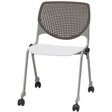 2300 KOOL Series Stacking Poly Silver Steel Frame Armless Chair with Brownstone Perforated Back and Casters - White Seat