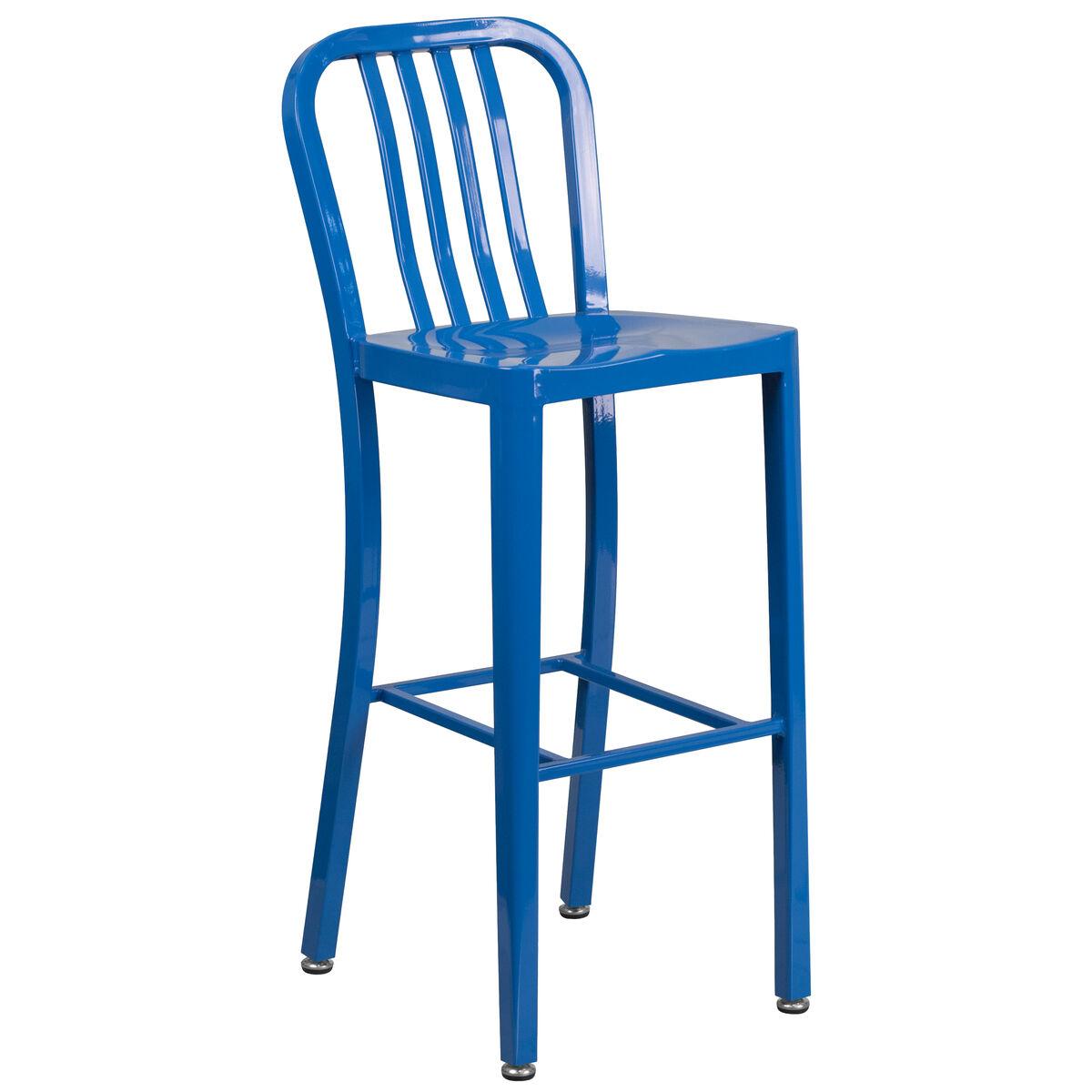 30 Blue Metal Outdoor Stool Ch 61200 30 Bl Gg Bizchaircom
