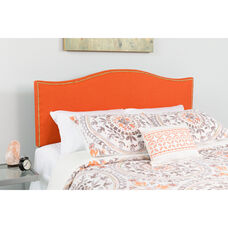 Lexington Upholstered King Size Headboard with Accent Nail Trim in Orange Fabric