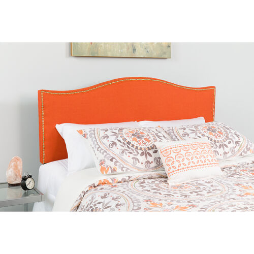 Our Lexington Upholstered Queen Size Headboard with Accent Nail Trim in Orange Fabric is on sale now.